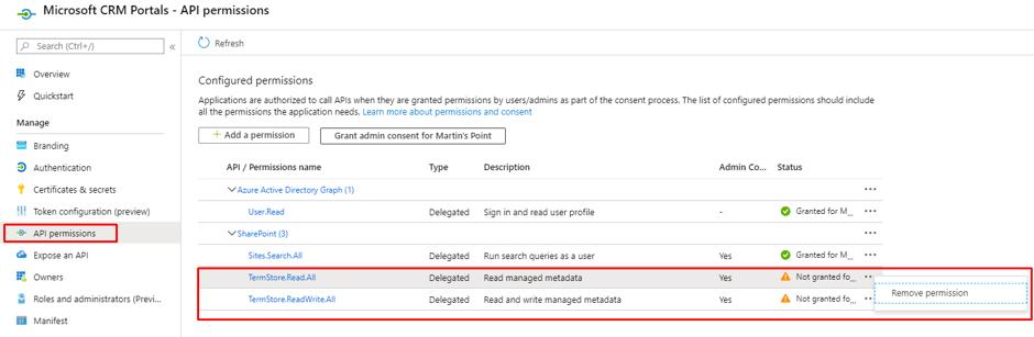 API permissions under microsoft CRM portals