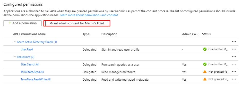 grant admin consent under configured permissions