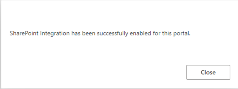 SharePoint integration is enabled successfully.