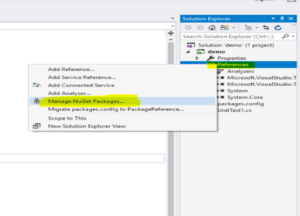 Right-click on Reference then manage Nugget packages